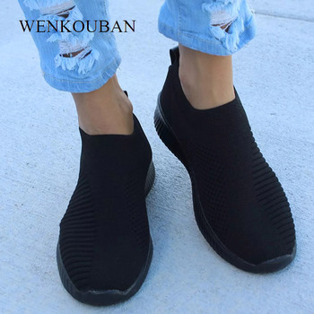 2019 New Women Running Shoes Sneakers Knit Sock Sport shoes Athletic Breathable Trainers slip on basket femme black zapatillas