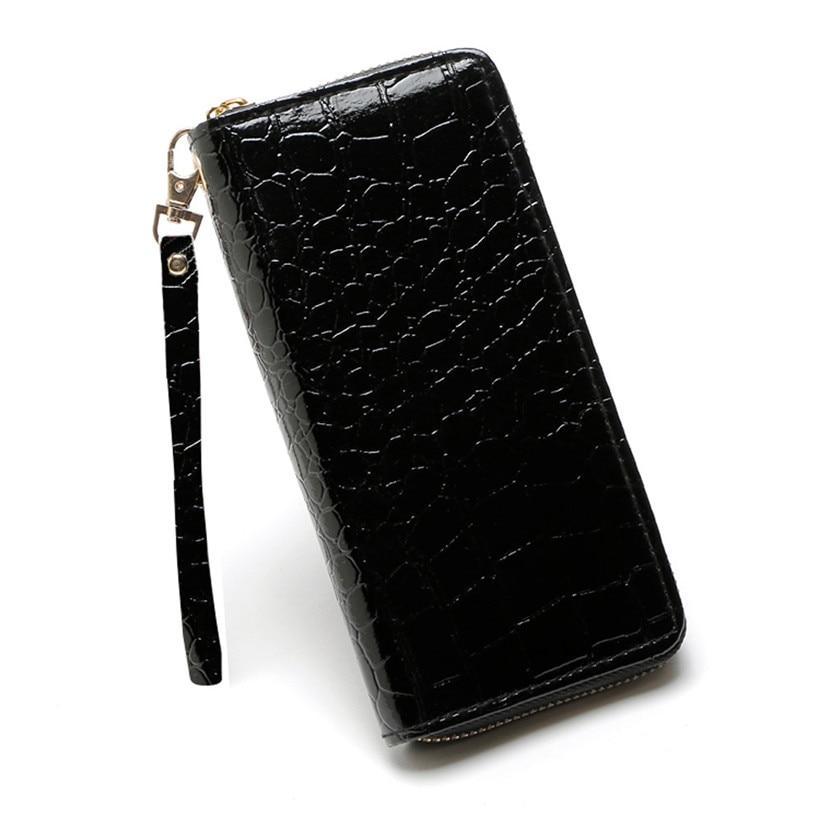 2018 Brieftasche Weibliche Lange Brieftasche Mode Stein Muster Zipper Clutch Tasche Damen Handy Tasche Brieftasche Frauen Leder Portefeuille Femme