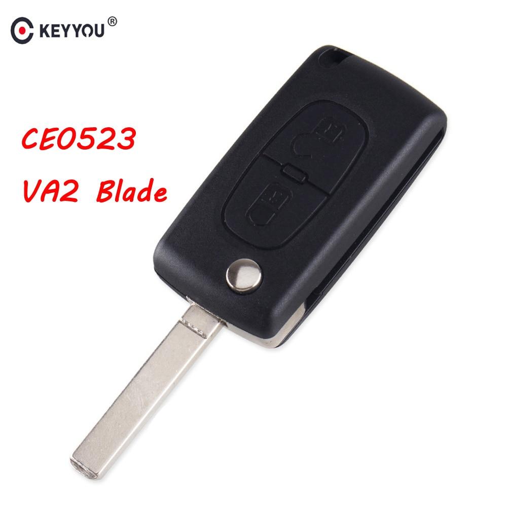 KEYYOU Key-Shell Va2-Blade Auto Ce0523 C4 2-Button Berlingo C3 Citroen Flip For C2 C6