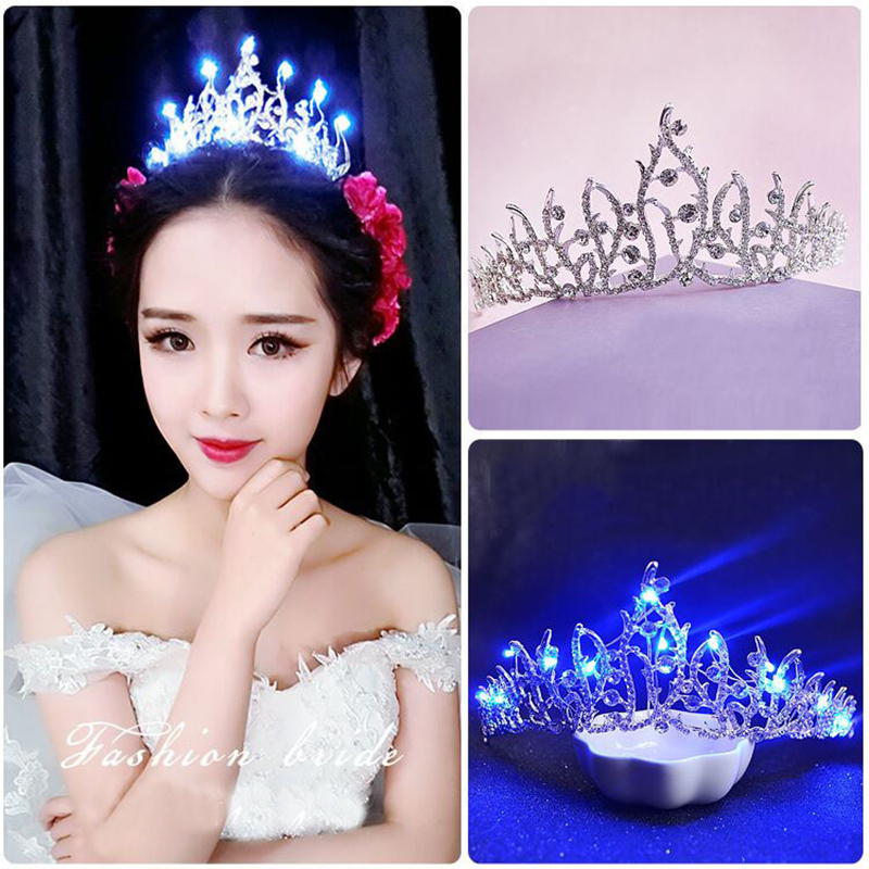 Glitter Queen Crown LED Light 4Colors Rhinestone Bridal Glowing Tiara Light-up Hairband for Women Christmas Hair Ornaments HG195 slip-on shoe