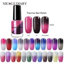 NICOLE DIARY Thermal Nail Polish Glitter Temperature Color Changing Water based Varnish Shinny Shimmer Peel Off Nail varnish