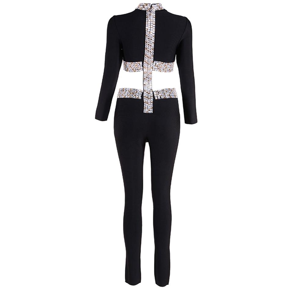 2018 Newest Spring Bandage Jumpsuit Women Celebrity Club Black Long Sleeve O-Neck Beading Full Length Sexy Party Bodysuit Women