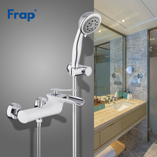 Frap White Bathtub Faucets Bathroom Shower Taps Set Waterfall with Shower Head Bath Cold and Hot Crane robinet banheira Y30001