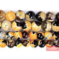 "Perles d'agates de feu Orange pierre naturelle prix usine 16 ""/brin 4 6 8 10 12 MM taille de choix OBFA01"