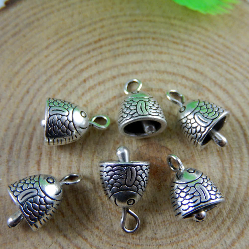 Wholesale 10pcs/lot Antique Silver Alloy Fish Head Bell (no sound) Charms Jewelry for Bracelet Necklace pendants DIY finding