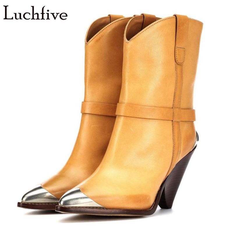 Frange occidentale Femmes Bottes original en cuir gland en métal rivets cloutés Cowboy Botas piste pointu Coins talon mi-mollet Bottes