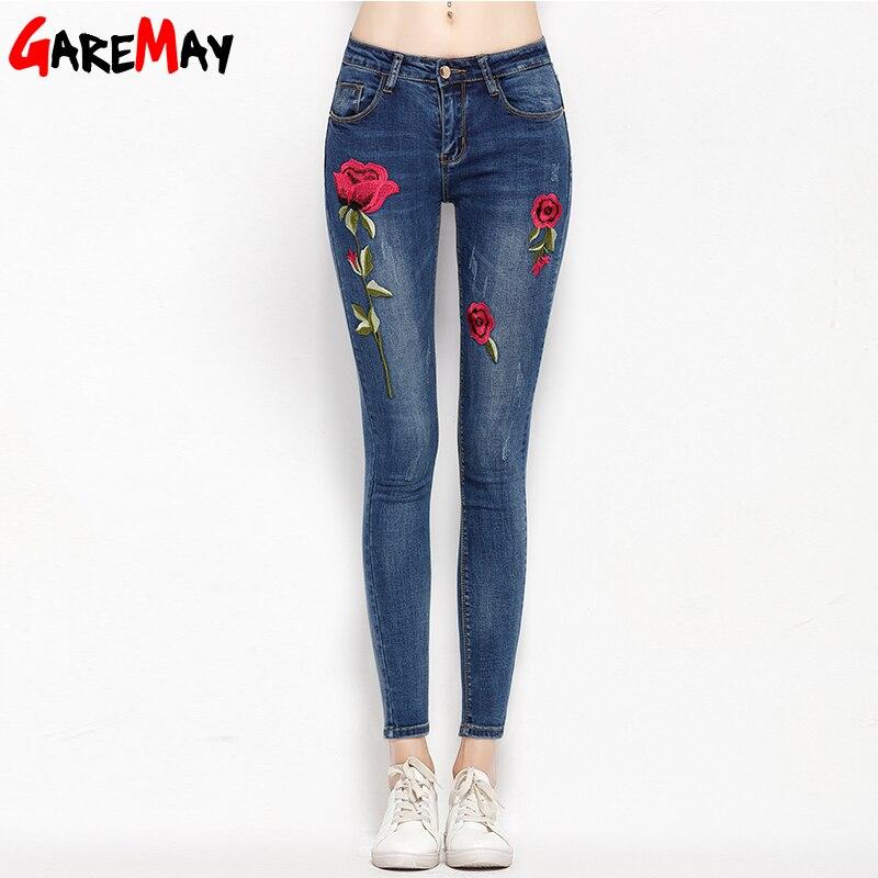 GareMay Official Store Стрейч вышивкой Джинсы для Для женщин упругой цветок Джинсы женский карандаш джинсовые штаны с рисунком розы Панталон garemay 155