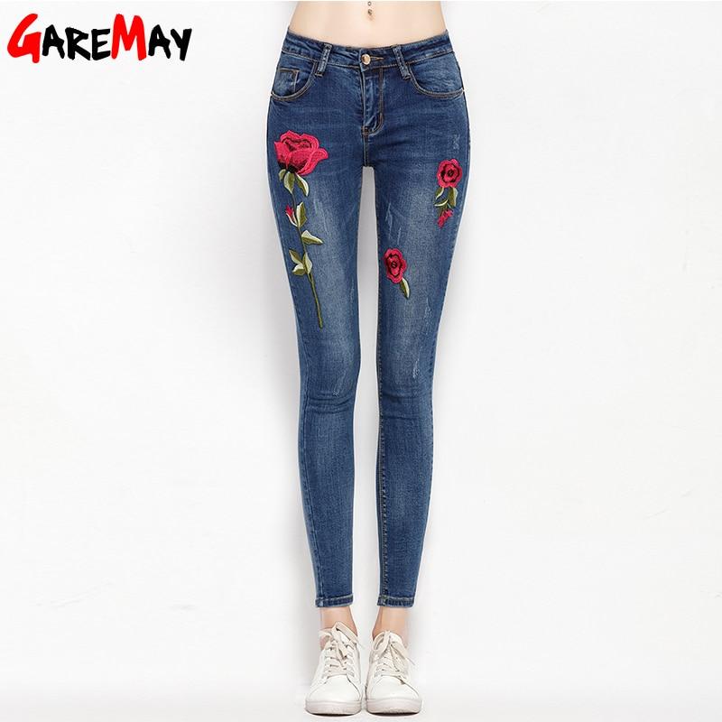 Stretch Embroidered <font><b>Jeans</b></font> For Women Elastic Flower <font><b>Jeans</b></font> Female Pencil Denim Pants Rose Pattern Pantalon Femme GAREMAY 155