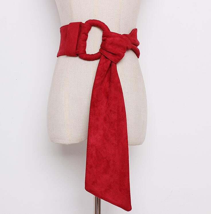 Women's Runway Fashion Faux Suede Leather Cummerbunds Female Dress Corsets Waistband Belts Decoration Wide Belt R1685