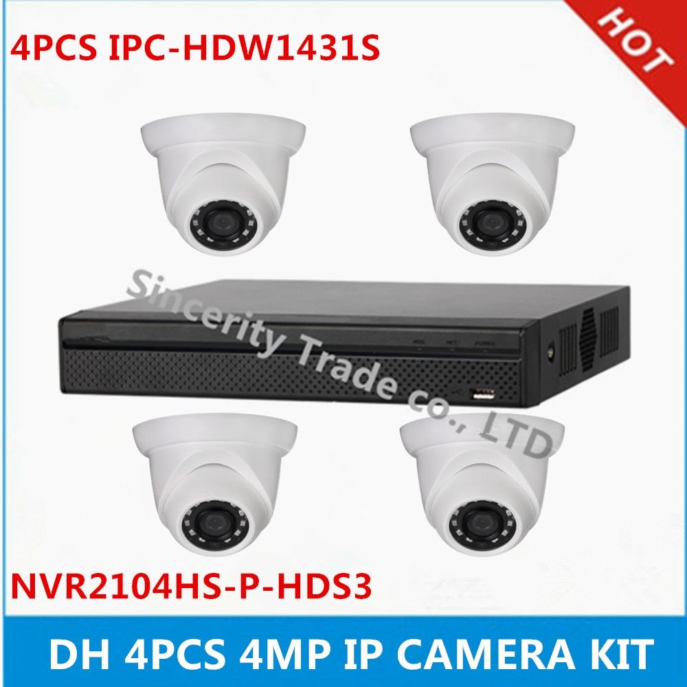 DH 4 pcs IPC HDW1431S 4MP IP Camera NVR2104HS P HDS3 4ch with 4 poe ports