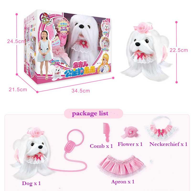 Perro Robot electrónico juguetes para perros de peluche cachorro mascota paseo corteza princesa correa de peluche controlado por línea de juguetes para niños niñas regalos - 6