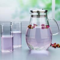 3in1 PINDEFANG 2.0L Ice Tea Jug + 2x 400ml Giftset Borosilicate Glass Water Bottle Modern Drinkware Home Juice Utensil