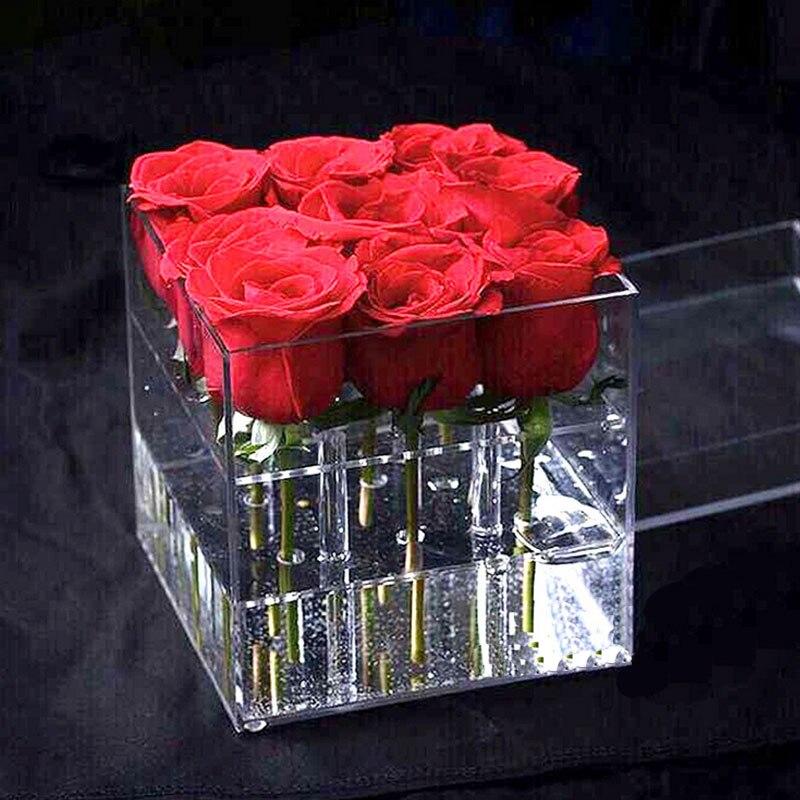 Acrylic Rose Flower Display Storage Box Makeup Organizer