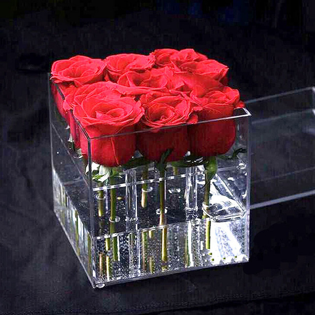 Acrylic Rose Flower Display Storage Box Makeup Organizer Cosmetic