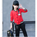 2017 new kids girls clothing sets autumn spring red pink black letters coats pants clothes suits baby big 2 pcs girls set