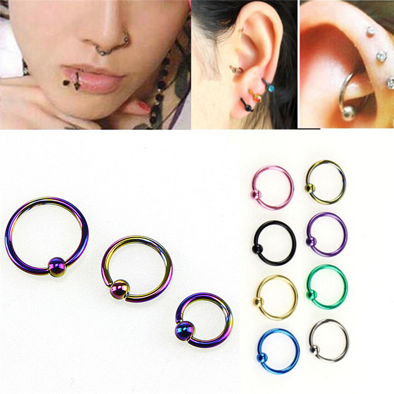 Fake Goth Punk Cheater Nose Clip Silver Colored Hoop Ring Lip Belly Non Piercing