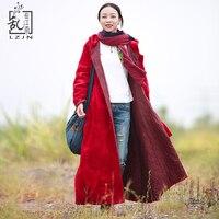 Lzjn 후드 파커 2017 겨울 자켓 여성 퀼트 롱 코트 레드 트렌치 코트 따뜻한 윈드 브레이커 manteau femme hiver winterjas 7187