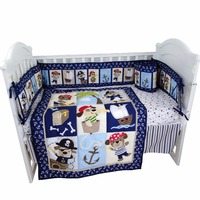 pirate world baby bedding set baby crib set for boys quilt sheet skirt baby bumper included