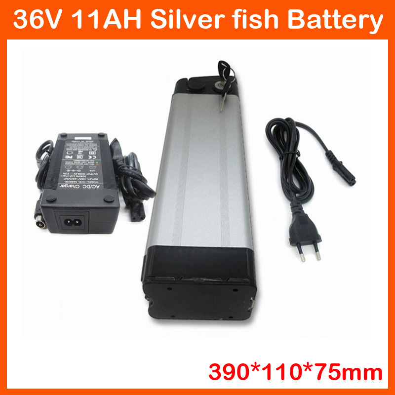 Top discharge 36V Lithium ion battery 36V 500W Electric Bike battery pack 36V 11AH with 42V 2A charger and 15A BMS image