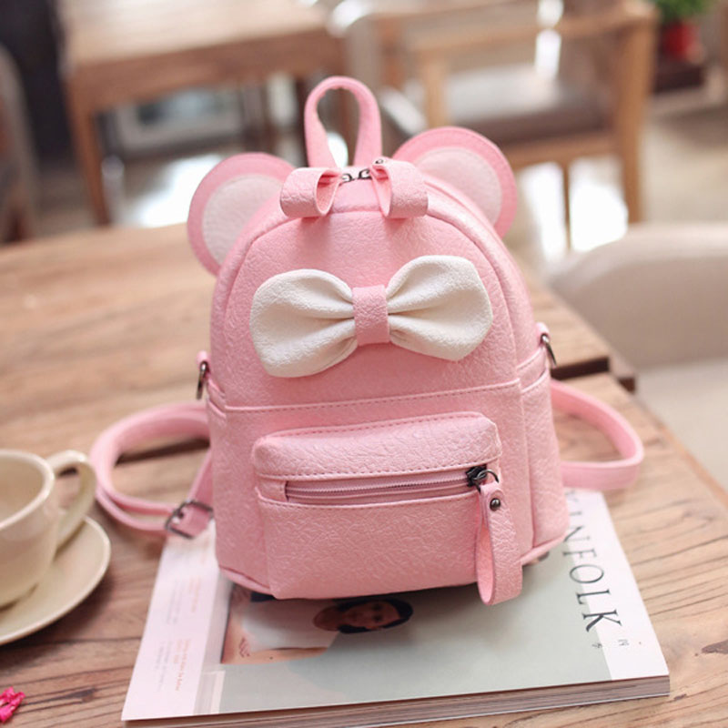 Foikvoon Mini Girls Bags Women Backpack PU Leather Fashion Girls Backpacks Small Cute Bow Color Woman Backpacks in Backpacks from Luggage Bags