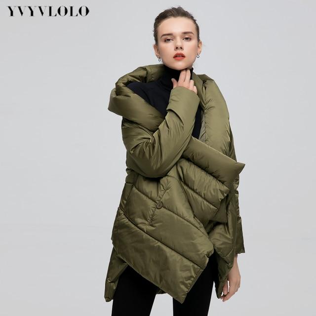 dbdf4f4754 US $46.07 52% OFF|YVYVLOLO Women's Winter Jacket Fashion Cloak Winter Coat  Women Parka Loose Plus Size Down Winter Coat Warm Jacket Overcoat -in ...