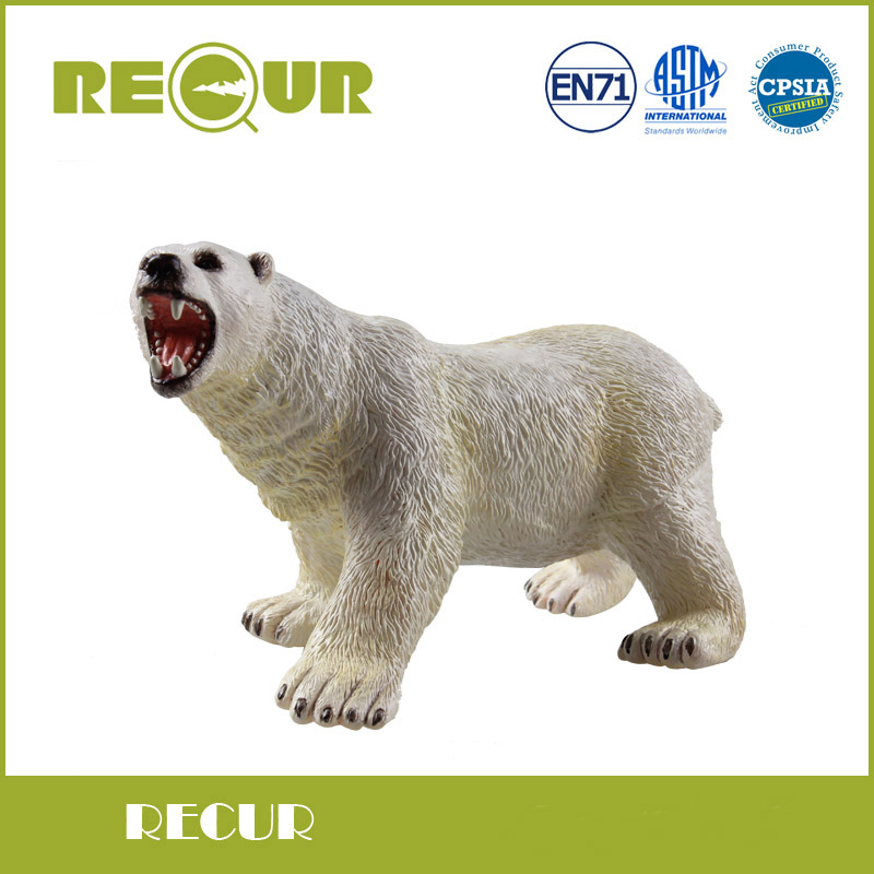 Recur Toys High Quality Polar Bear Simulated Model Hand Painted PVC Wild Animal Action Figures Soft Toy Collection Gift For Boys lps pet shop toys rare black little cat blue eyes animal models patrulla canina action figures kids toys gift cat free shipping