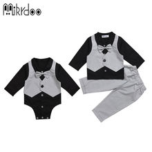 Mikrdoo baby boy bow shirt suit pants black grey gentleman formal kids clothing set Age 0-2 Years fashion male wedding clothes