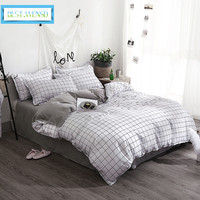 BEST.WENSD Hot white bedding set Stripes lattices princess king bedding bed cover with pillow cases comforter set 3D quilt cover