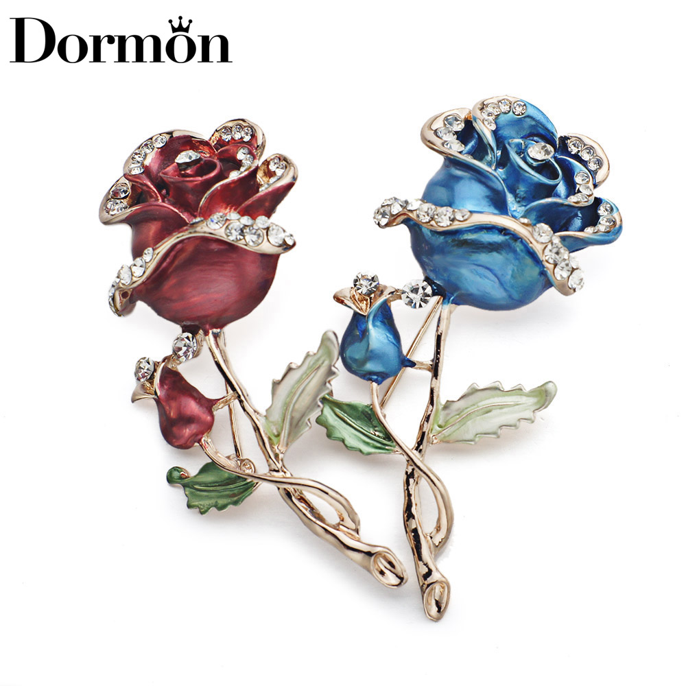 DORMON Pretty Elegant Flowers Brooch Pin Crystal Tørklæde Pins - Mode smykker
