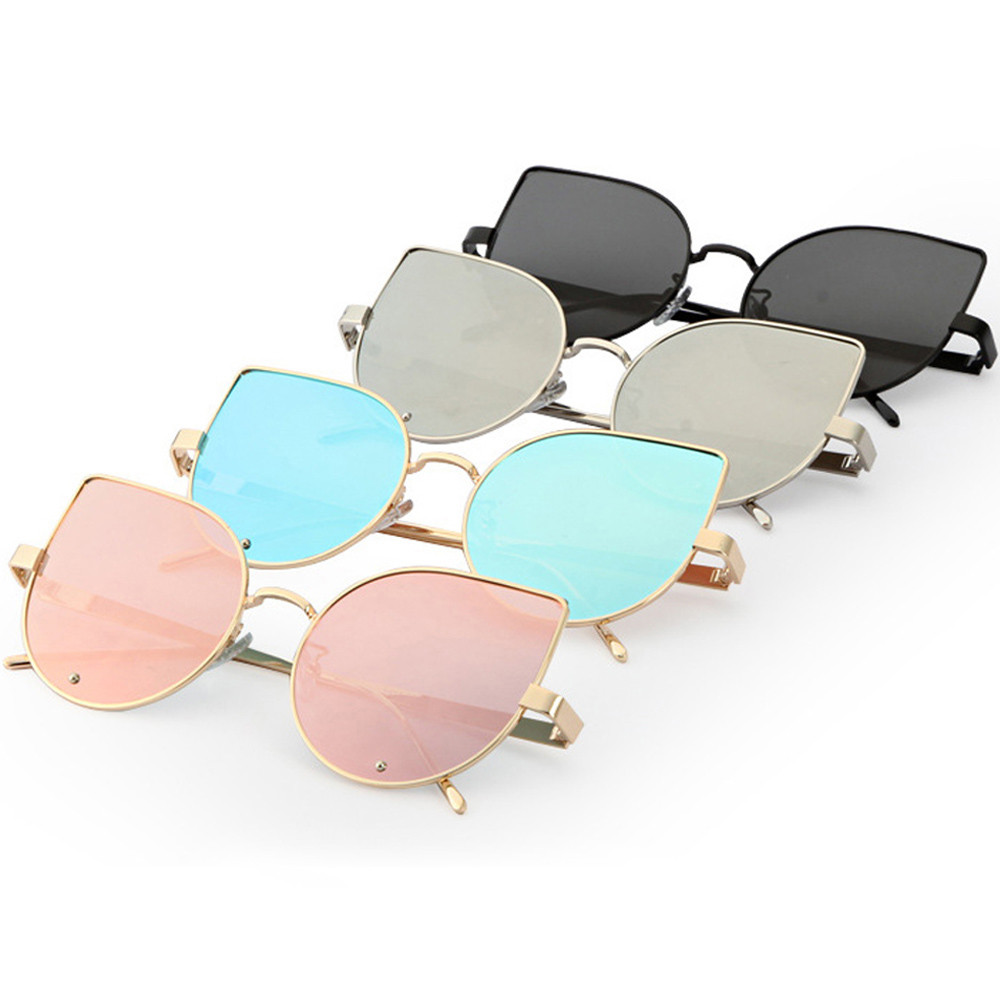 High Quality Fashion Cat Eye Sunglasses Women Metal Reflection Mirror Frame From Lens Sunglasses Glasses Classic Vintage Glassse reflection