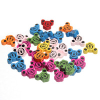 Mixed Color 50pcs 19x15mm Animal Wooden Beads Mouse Pattern Wood Beads for jewelry Making DIY Baby Pacifier clip Rattle