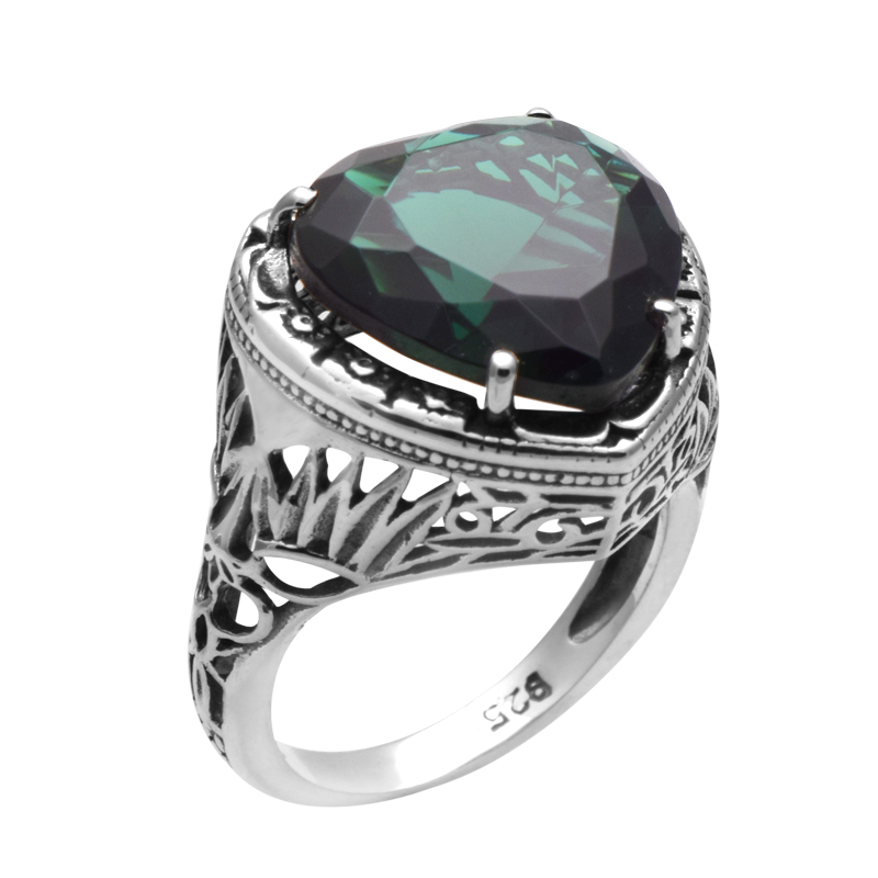 Obama Fashion Heart Created Emerald Ring 925 Solid Sterling Silver Handmade Jewelry Vintage Rings For Women Christmas Gift