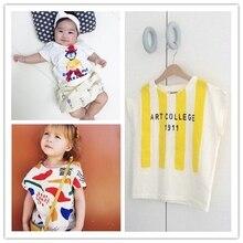 new bobo* choses* 2016 unisex baby kids cotton T shirt girl boy summer top clothing children fashion Clown Man design t-shirts