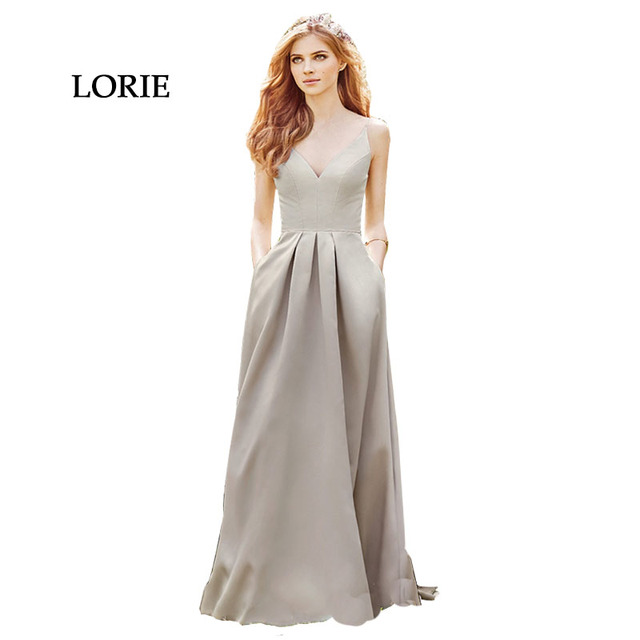 4921b2fdaba Gray Evening Dress 2017 Elegant Women Formal V-Neck Floor Length Pleat  Satin Long Prom
