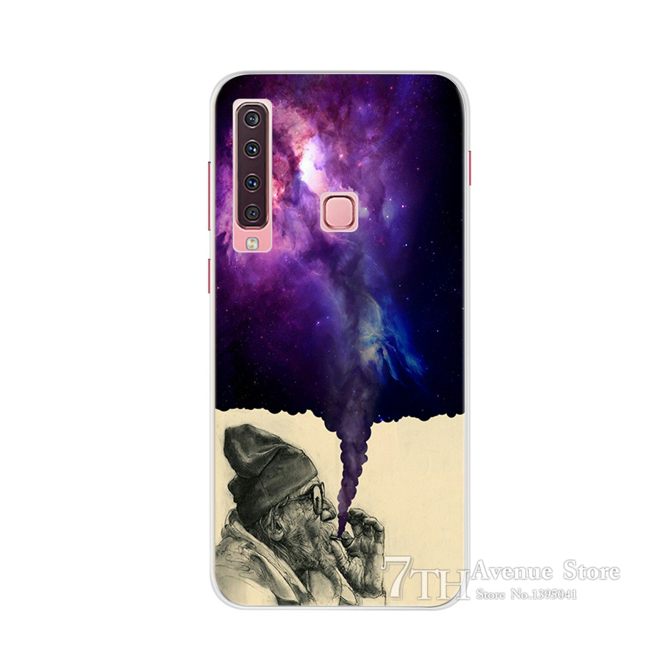 Floral Case For Samsung A9 2018 Cover A 9 A920F Soft Silicone TPU Phone Case For Samsung Galaxy A9 2018 A920 SM A920F Case Cat in Fitted Cases from Cellphones Telecommunications