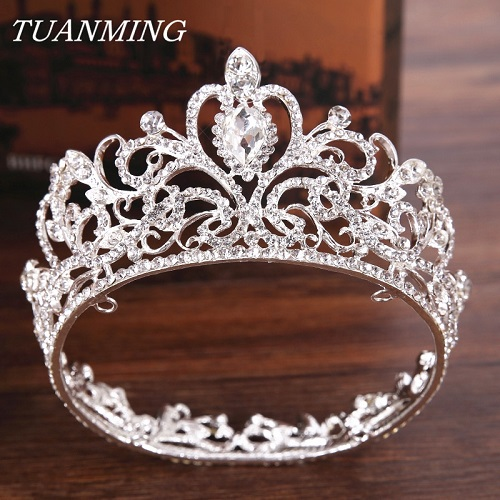 Silver Crystal Crown Princess's Tiara Wedding Hair Accessories Round Small Crown For Princess Girl Hair Ornament For Wedding kawaii girl kids princess crown hair clip pin hairpin accessories for girls hair clips hairclip barrette tiara ornaments st 20