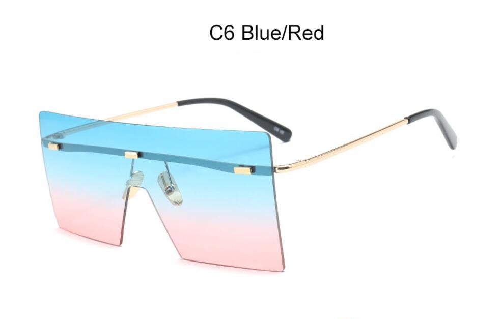 Oversize Brown Sunglasses 2020 Women Retro Vintage Sunglasses Luxury Brand Rimless Eye wear Big Shades 11