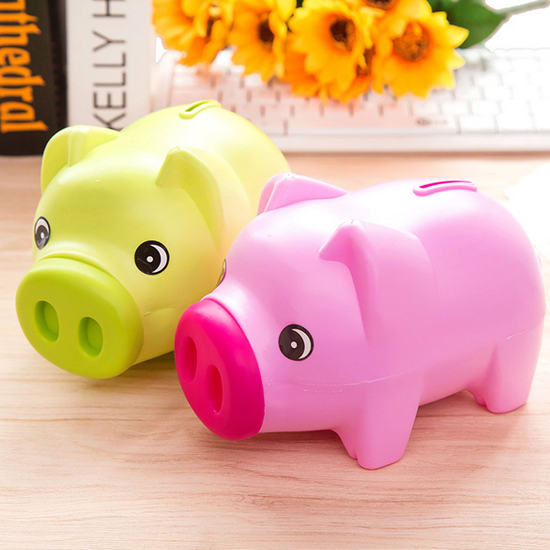 Good Quality Portable Cute Plastic Piggy Bank Saving Cash Coin Money Box Children Toy Kids Gifts Home Collection 3 Colors