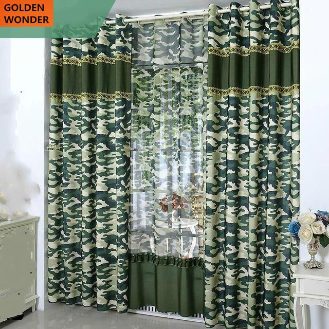 Customized Camouflage Curtains For Living Room Curtains For Bedroom Green  Color Modern Design For Boys
