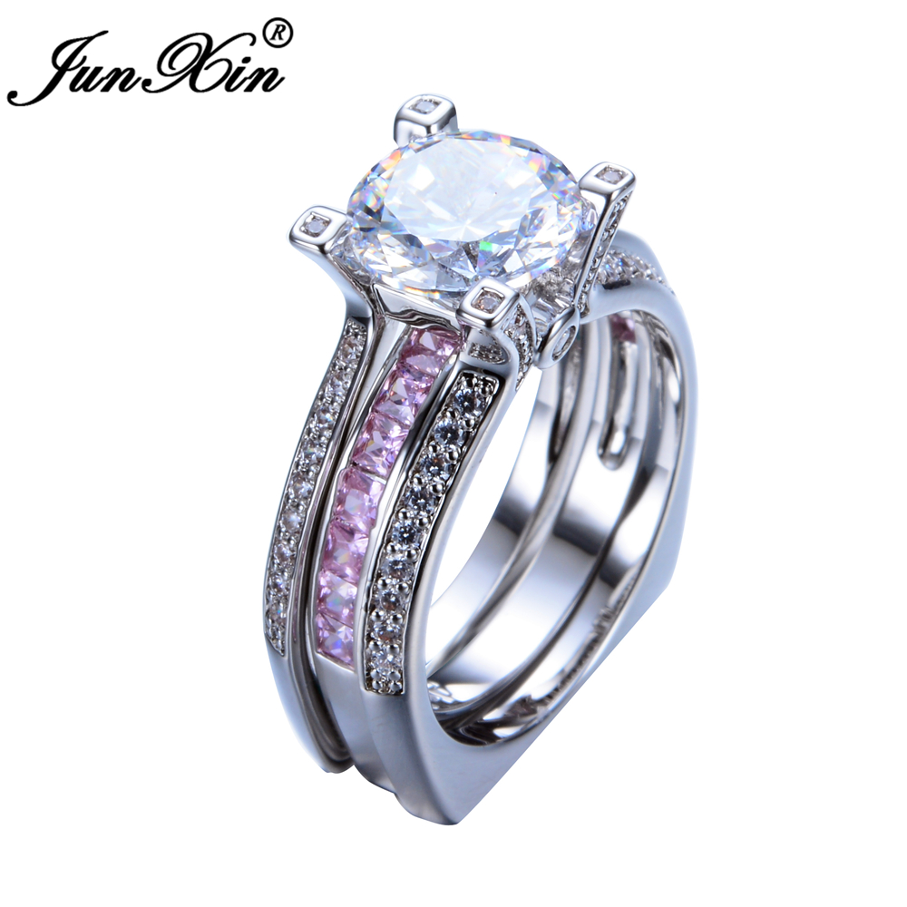 JUNXIN Luxury Female Pink Ring Set Bridal Sets High