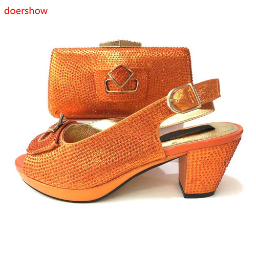 doershow Italian Matching Shoes and Bag Set African Wedding Shoe and Bag set Italy Shoe and Handbag Summer Set Women!MS1-5 doershow african shoe and bag matching set african wedding shoe and bag sets women shoe and bag to match for parties puw1 20