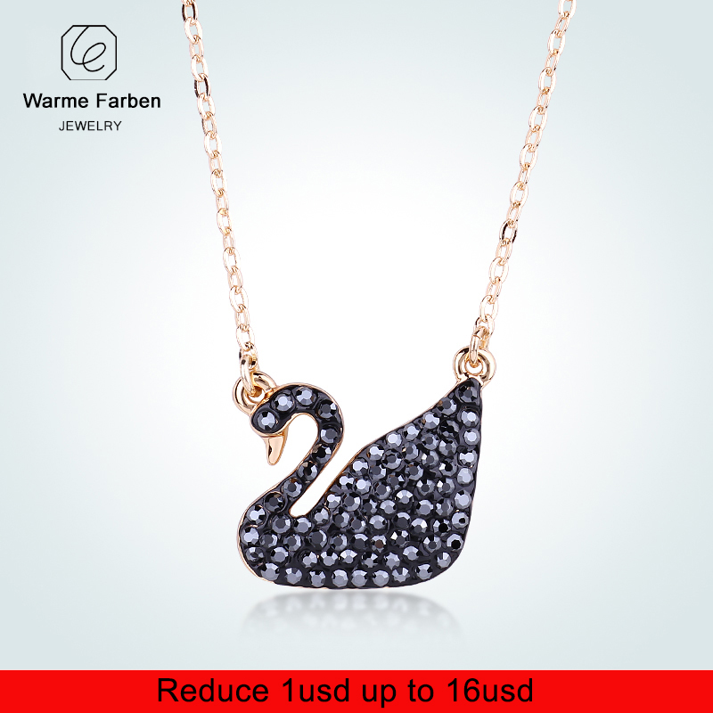 Warme Farben Crystal From Swarovski for Women Pendant Necklaces Classic  Black Swan Jewelry Party + Chain