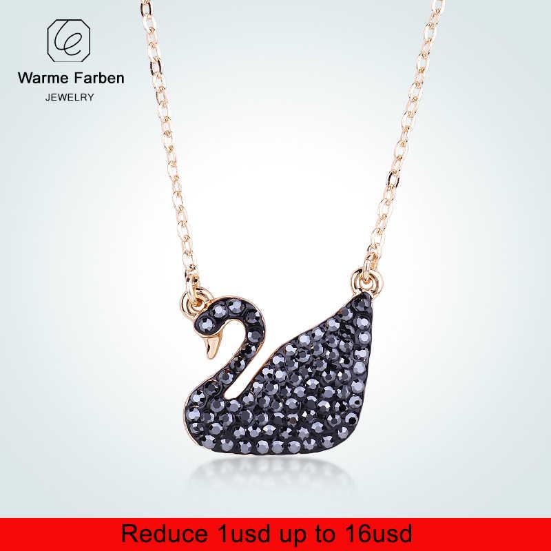 3c252e4e6e93 Warme Farben Crystal From Swarovski for Women World Pendant Necklaces  Classic Black Swan Jewelry Birthday Party