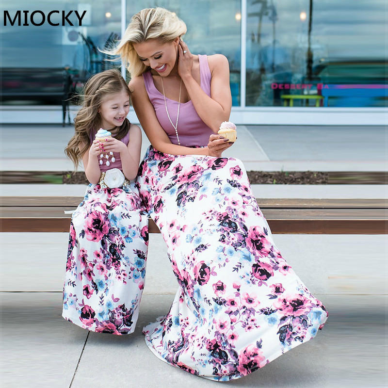 Summer Mommy And Me Family Matching 2019 Mother Daughter Dresses Clothes Print Mom Dress Kids Child Outfits Mum Baby Girl E0165