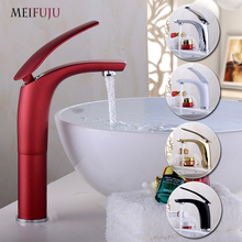 Basin Faucet Water Tap Bathroom Faucet Solid Brass Chrome Gold Black Red Finish Single Handle Hot And Cold Water Sink Tap Mixer