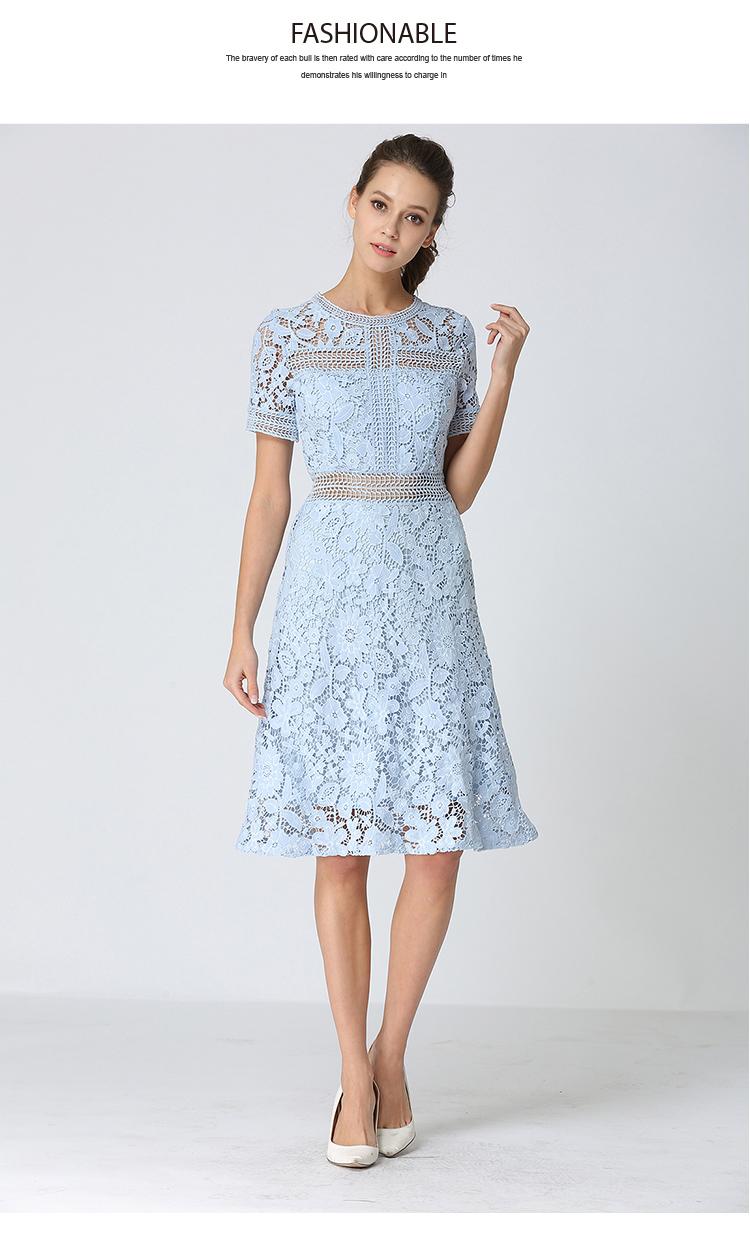 Summer Hollowed Up Blue Lace Dress Dress Women Elegant Midi Party Dress Vestido Mujer Verano 2018 Ladies Dress Robe Femme K6835 5