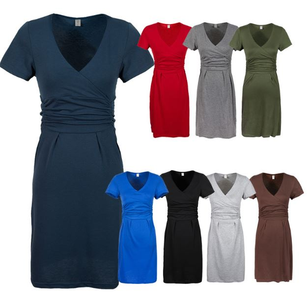 Удобна рокля за майчинство V-образно - Бременност и майчинство - Снимка 3