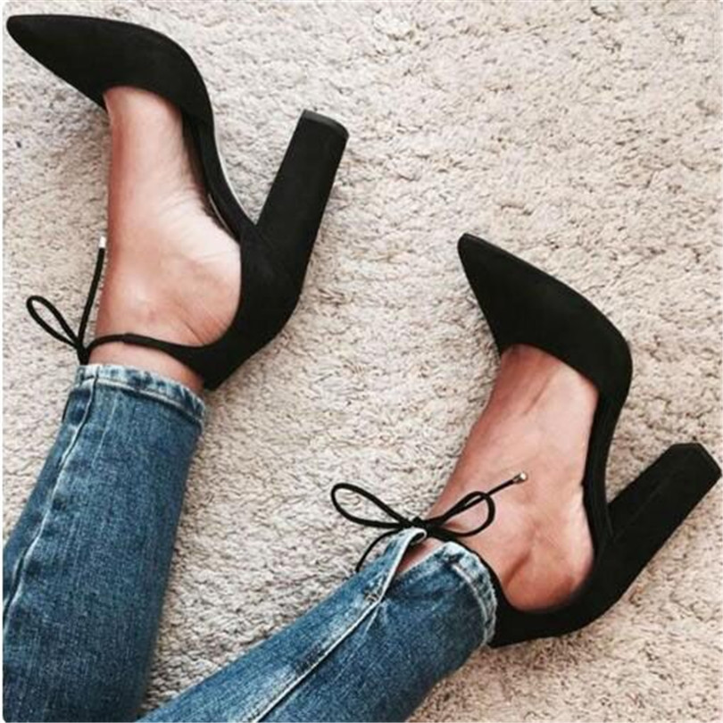 Spring Summer New 2017 Office Career Ladies Women lolita Shoes Escarpins Femme Lace Up Chunky High Heels Fashion Women Pumps 2016 spring and summer free shipping red new fashion design shoes african women print rt 3