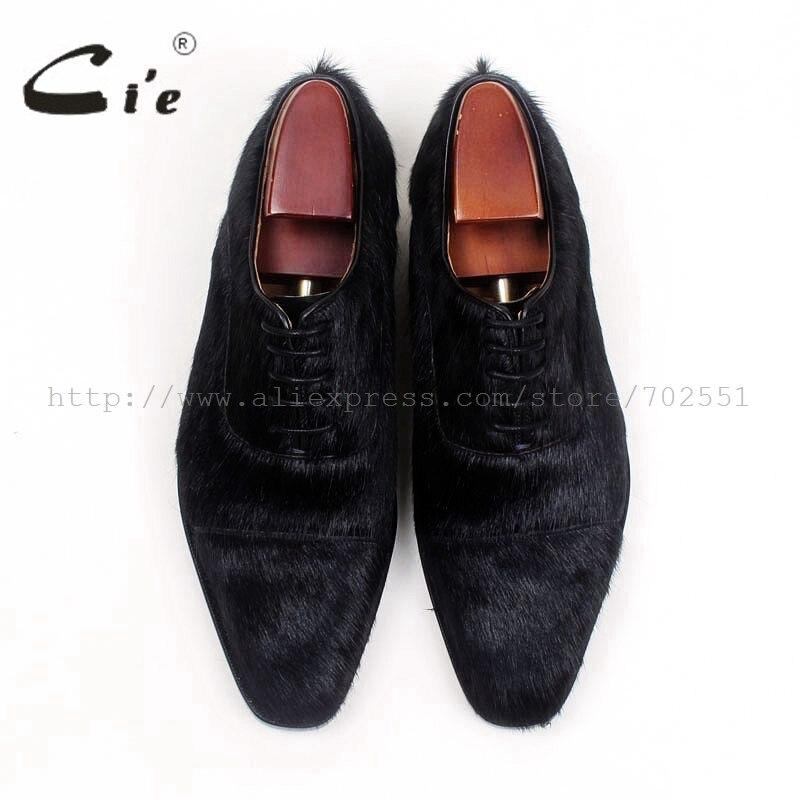 CIE квадратный Cap Toe черный конский волос из натуральной кожи теленка, стелька/подошва дышащая заказ мужская кожаная обувь ручной работы на пл...