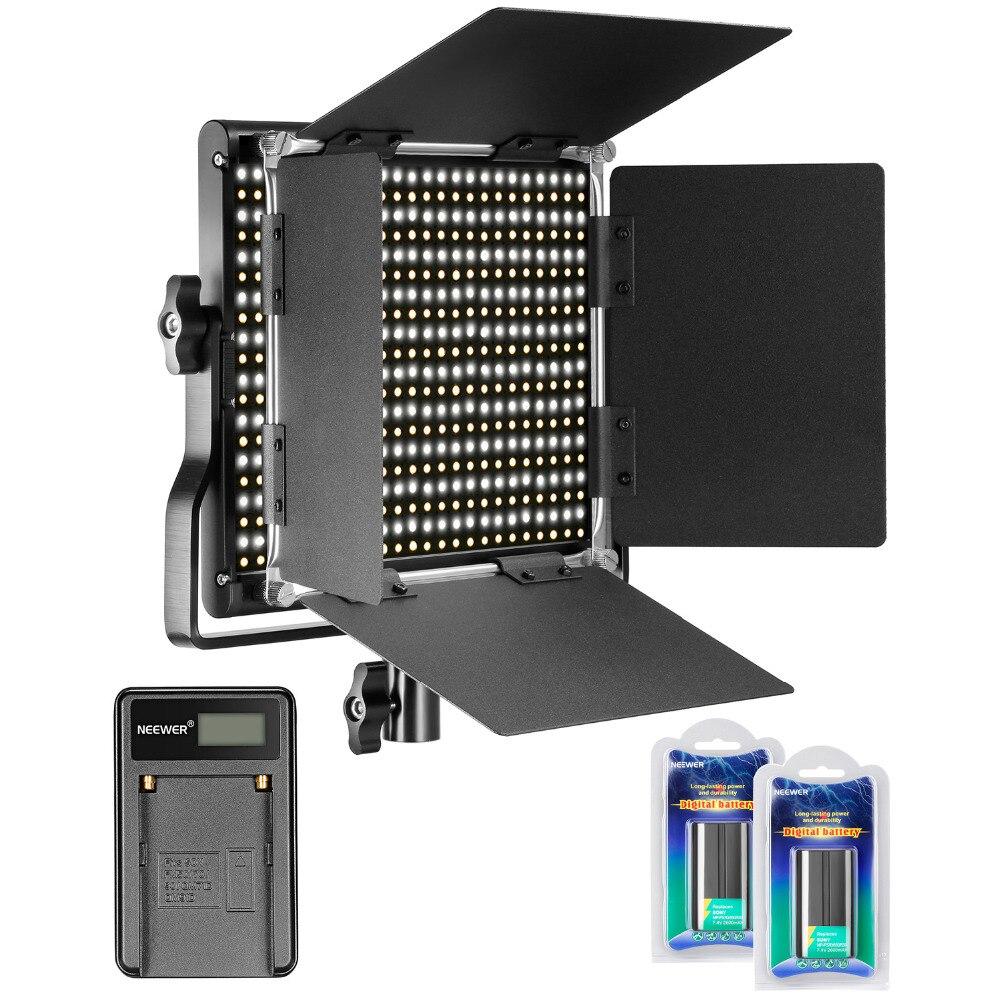 Neewer 660 LED Vidéo Lampe Bi-Couleur Dimmable 3200-5600 K avec U Support Barrière + 2 Pcs Li-ion Rechargeable Batterie + Chargeur USB